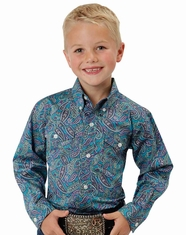 Roper Boy's Long Sleeve Print Button Down Shirt - Blue