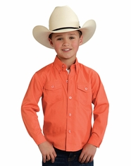 Roper Boy's Long Sleeve Solid Button Down Shirt - Coral