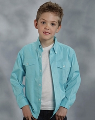 Roper Boy's Long Sleeve Solid Button Down Shirt - Turquoise