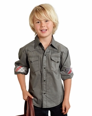 Roper Boy's Long Sleeve Solid Snap Shirt - Grey