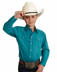 Roper Boy's Long Sleeve Solid Snap Shirt - Jade