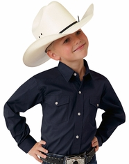 Roper Boy's Long Sleeve Solid Snap Shirt - Navy
