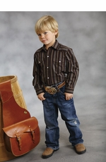 Roper Boy's Long Sleeve Striped Western Snap Shirt - Brown (Closeout)