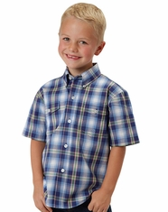 Roper Boy's Short Sleeve Plaid Button Down Shirt - Blue