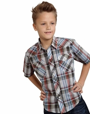 Roper Boy's Short Sleeve Plaid Snap Shirt - Blue (Closeout)
