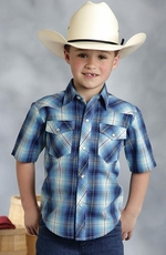 Roper Boy's Short Sleeve Plaid Snap Western Shirt - Blue