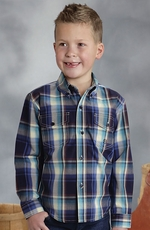 Roper Boys Long Sleeve Plaid Button Down Western Shirt - Blue (Closeout)