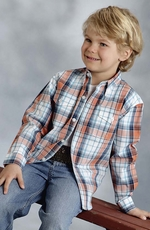 Roper Boys Long Sleeve Plaid Button Down Western Shirt - Orange (Closeout)