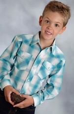 Roper Boys Long Sleeve Plaid Snap Shirt - Blue