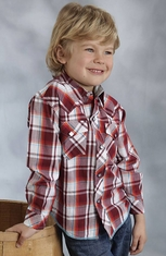 Roper Boys Long Sleeve Plaid Snap Shirt - Red (Closeout)