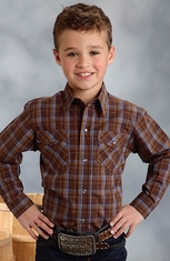 Roper Boys Long Sleeve Plaid Snap Western Shirt - Brown (Closeout)