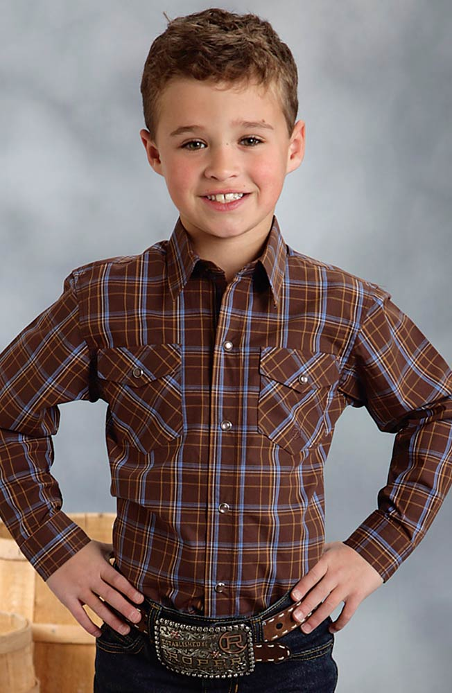 Roper Boys Long Sleeve Plaid Snap Western Shirt - Brown