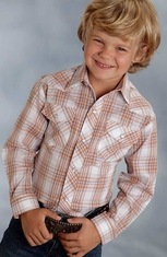 Roper Boys Long Sleeve Plaid Snap Western Shirt - Orange (Closeout)