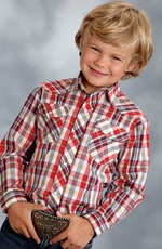 Roper Boys Long Sleeve Plaid Snap Western Shirt - Red
