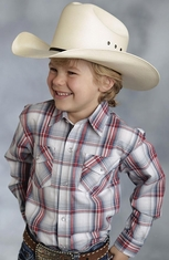 Roper Boys Long Sleeve Plaid Snap Western Shirt - Red (Closeout)