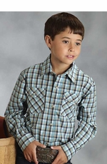 Roper Boys Long Sleeve Plaid Western Snap Shirt - Blue (Closeout)