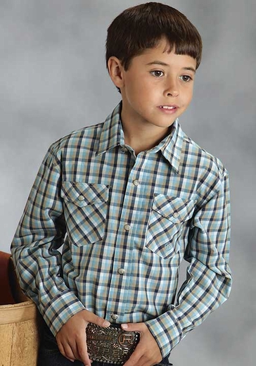 Roper Boys Long Sleeve Plaid Western Snap Shirt - Blue
