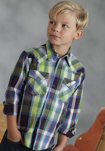 Roper Boys Long Sleeve Plaid Western Snap Shirt - Blue/Green