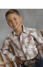 Roper Boys Long Sleeve Plaid Western Snap Shirt - Orange (Closeout)