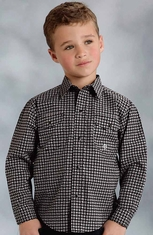 Roper Boys Long Sleeve Print Snap Western Shirt - Black (Closeout)