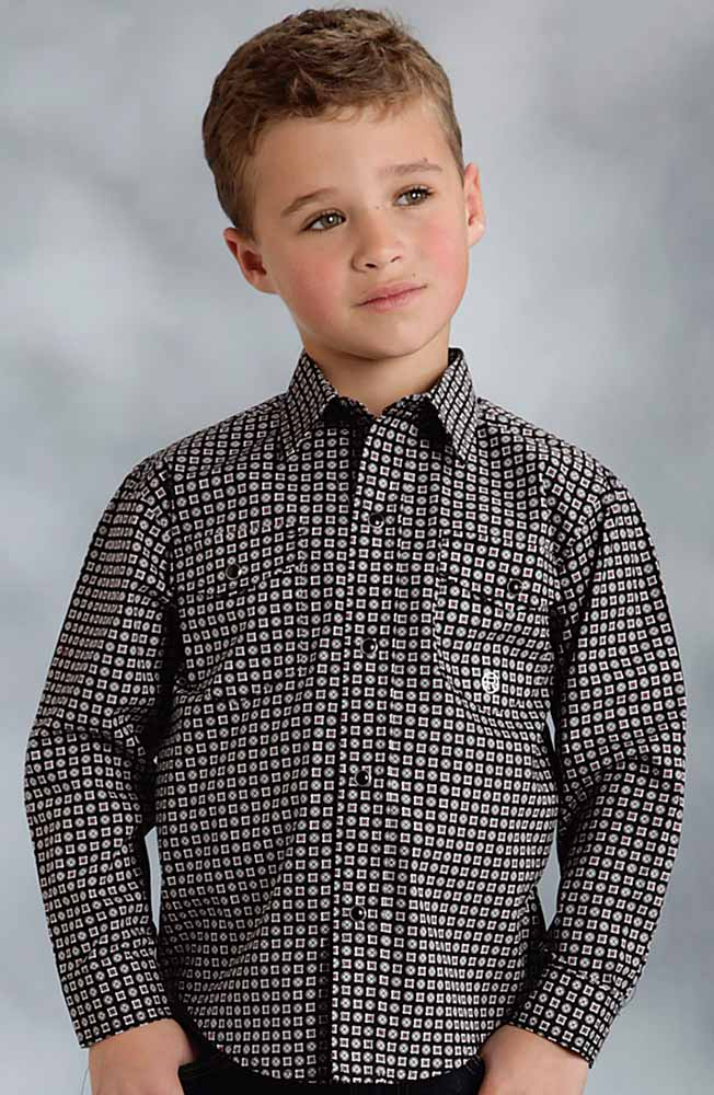 Roper Boys Long Sleeve Print Snap Western Shirt - Black