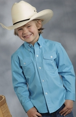 Roper Boys Long Sleeve Solid Button Down Western Shirt - Turquoise