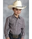 Roper Boys Long Sleeve Stripe Snap Western Shirt - Grey (Closeout)