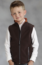 Roper Boys Rangewear Hi Tech Fleece Vest - Chocolate