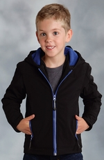 Roper Boys Rangewear Hooded Fleece Lined Softshell Jacket - Black