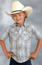 Roper Boys Short Sleeve Plaid Snap Western Shirt - Blue