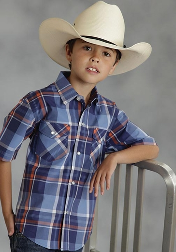 Roper Boys Short Sleeve Plaid Western Snap Shirt - Blue (Closeout)