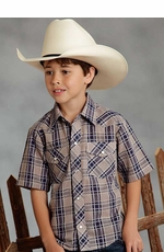 Roper Boys Short Sleeve Plaid Western Snap Shirt - Navy