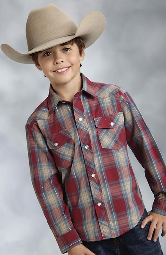 Roper Boys Long Sleeve Classic Plaid Snap Western Shirt - Red (Closeout)
