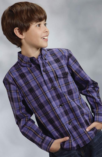 Roper Boys Long Sleeve Plaid Button Down Western Shirt - Purple