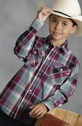 Roper Boys Long Sleeve Plaid Western Snap Shirt - Wine