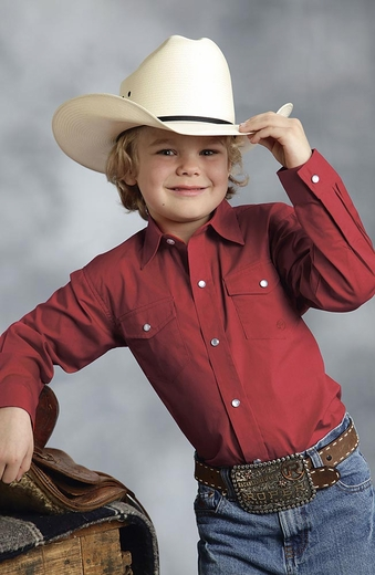 Roper Boys Long Sleeve Solid Snap Western Shirt - Red (Closeout)