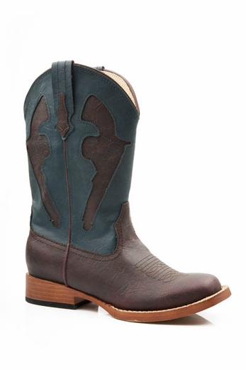 Roper Children's Pistol Boots - Brown/ Blue
