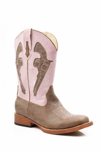 Roper Children's Pistol Boots - Brown/ Pink