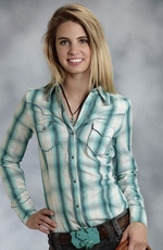 Roper Five Star Womens Long Sleeve Plaid Snap Western Shirt - Turquoise