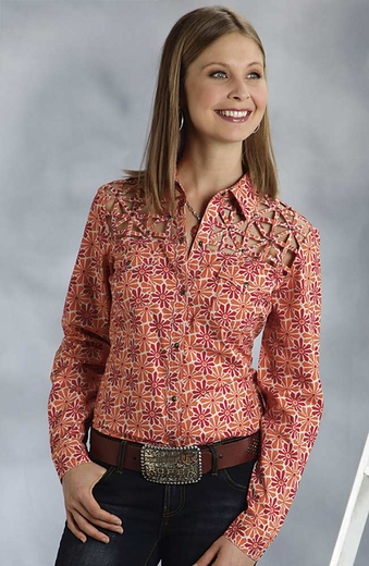 Roper Five Star Hearts On Fire Womens Long Sleeve Lattice Yoke Western Shirt - Orange