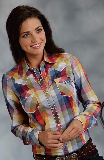 Roper Five Star Womens Long Sleeve Plaid Snap Western Shirt - Blue