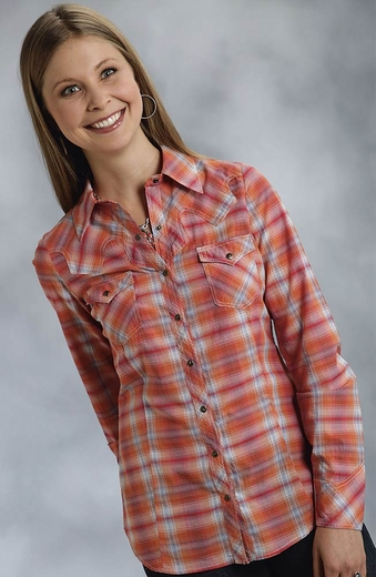 Roper Five Star Hearts On Fire Womens Long Sleeve Plaid Snap Western Shirt - Orange