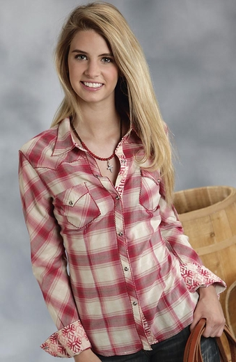 Roper Five Star Womens Long Sleeve Plaid Snap Western Shirt - Red