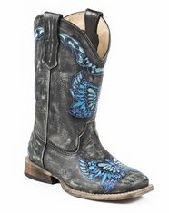 Roper Girl's Embroidered Butterfly Boots - Black/Blue (Closeout)