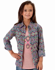 Roper Girl's Long Sleeve Aztec Print Western Snap Shirt  -Blue