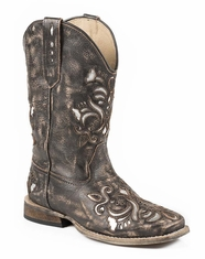 Roper Girl's Metallic Floral Underlay Boots - Brown/Silver