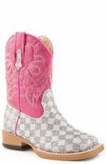 Roper Girls Bling Square Toe Checkerboard Foot Boots - Grey (Closeout)