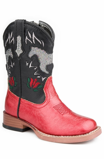 Roper Girls Square Toe Cowboy Boots with Bling Horses - Red/Black