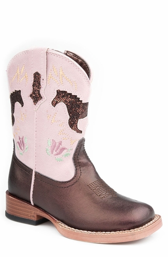 Roper Girls Square Toe Cowboy Boots with Bling Horses - Brown/Pink (Closeout)