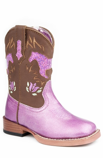Roper Girls Square Toe Cowboy Boots with Bling Horses - Pink/Brown